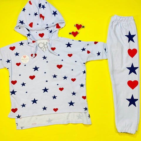 Chaser Stars & Hearts Soft & Cozy ¾ Sleeve Hoodie & Chaser Stars & Hearts & Soft & Cozy Sweatpants