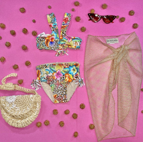 Luli Fama Cheetah and Floral Reversible Metallic Two Piece Bikini
