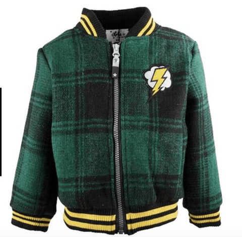 Lola and The Boys Frenchie Wool Plaid Bomber Jacket