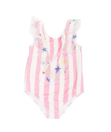 Noe & Zoe - Stripes and Rainbow Ruffles One Piece Swimsuit (Preorder)