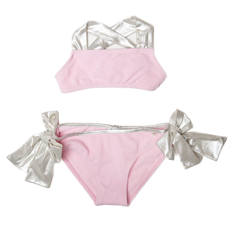 Nueces Two Piece Metallic Bow Bikini