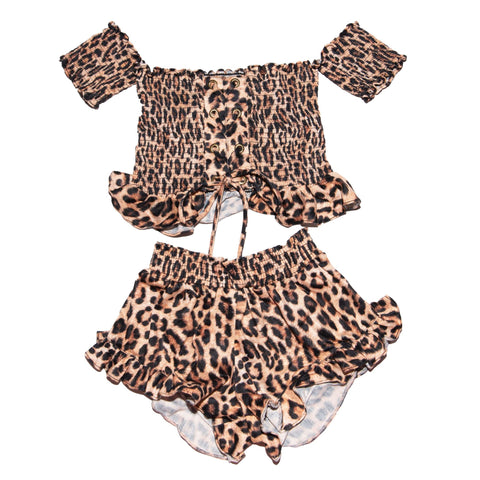 Peixoto Kids Leopard Nina Off The Shoulder Top and Shorts