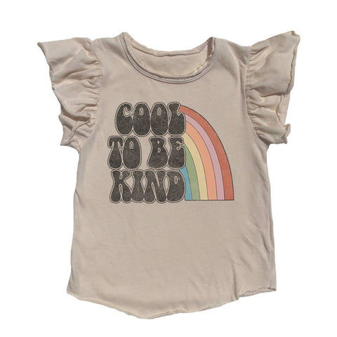 Rowdy Sprout Cool To Be Kind Rainbow Ruffle Sleeve Tshirt