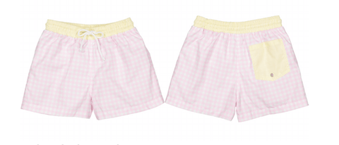 Boys' Checkered Swim Trunks (Preorder)