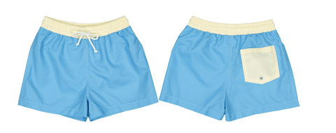Boys' Solid Color Block Swim Trunks (Preorder)