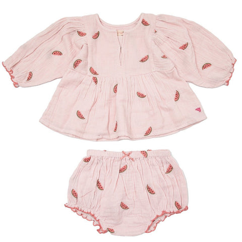 Pink Chicken Watermelon Embroidered Top and Bloomers Set