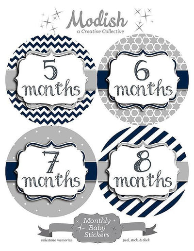 ASSORTED PATTERN MONTHLY BABY STICKERS - MODISH