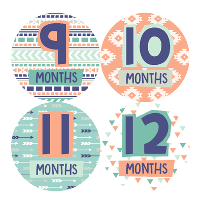 AZTEC PRINT MONTHLY BABY STICKERS - Mini Dreamers