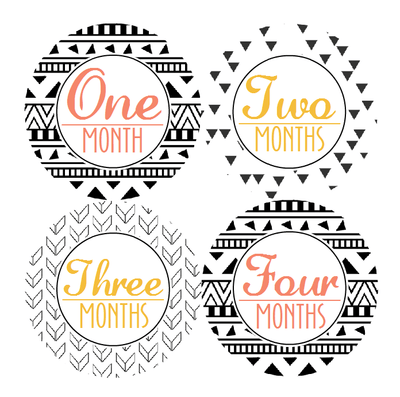 AZTEC TRIBAL MONTHLY BABY STICKERS - MADDIESMOME