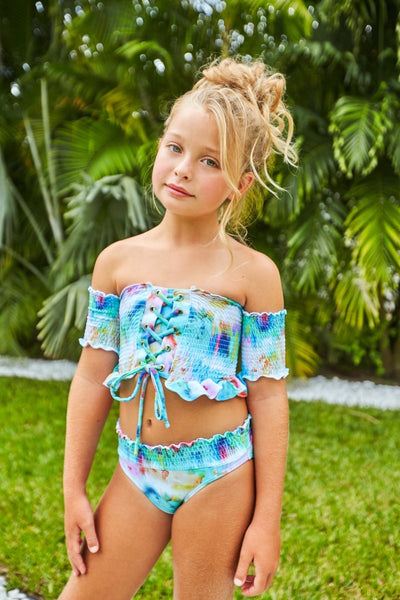 ELSA TIE DYE SMOCKED TWO PIECE BIKINI - PEIXOTO KIDS