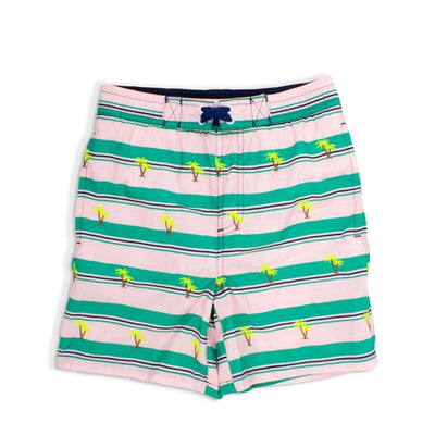 EMBROIDERED PALM TREES AND STRIPES SWIM TRUNKS - SHADE CRITTERS