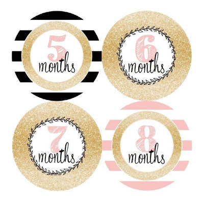 GLITTER PATTERN MONTHLY BABY STICKERS - MADDIESMOME