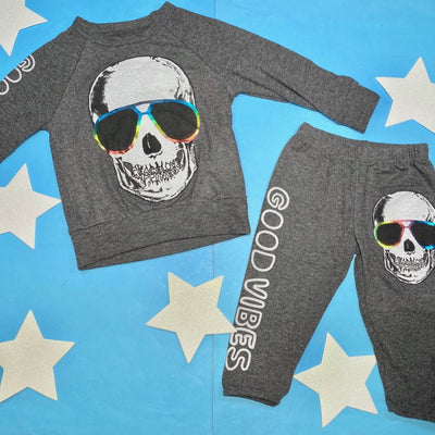 METALLIC COOL SKULL SWEATSHIRT MINI DREAMERS EXCLUSIVE - LAUREN MOSHI