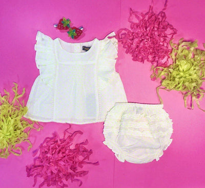 NEON DOTTY RUFFLE TOP AND RUFFLE BLOOMERS SET - VELVETEEN