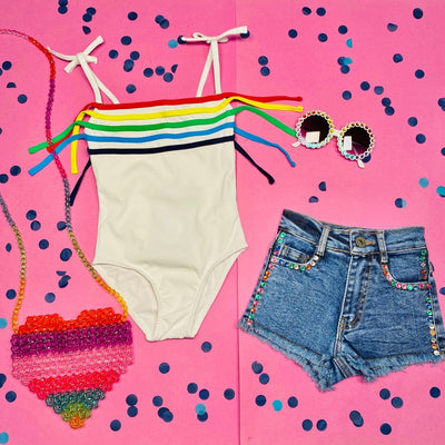 RAINBOW FRINGE ONE PIECE SWIMSUIT - Y PORQUE