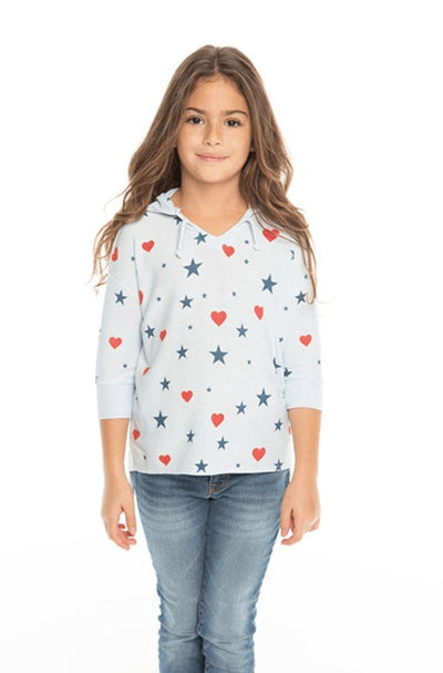 STARS & HEARTS SOFT & COZY 3/4 SLEEVE HOODIE - CHASER