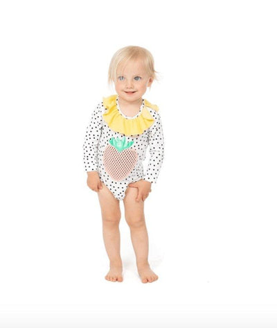 STRAWBERRY RUFFLE POLKA DOT ONESIE - WAUW CAPOW