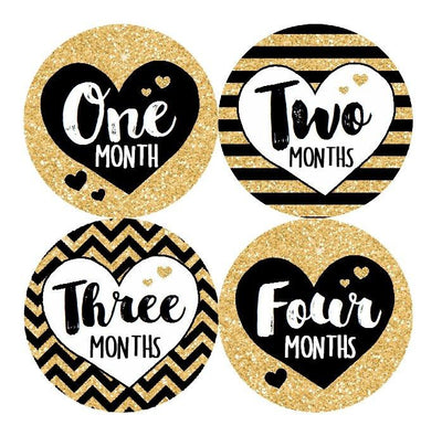STRIPED HEART MONTHLY BABY STICKERS - MADDIESMOME
