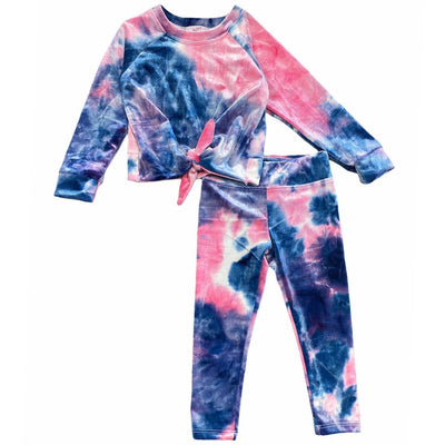 VELVET TIE DYE TWIST LONG SLEEVE TOP AND LEGGINGS SET - SOFI CLOTHING