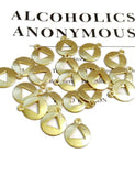 20 Pc Gold Tone AA Pendant Charms - Alcoholics Anonymous