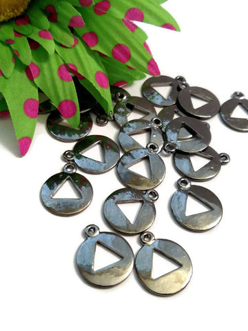 20 Pc Gun Metal Gray Pendant Charms - Alcoholics Anonymous