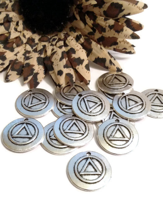 Antique Silver Pendant Charms - Alcoholics Anonymous Raised Style