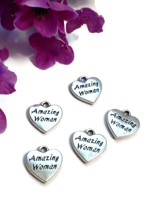 Amazing Woman Heart Pendant Charms