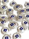 Blue Enamel With Clear Crystal Pendant Charms - Narcotics Anonymous