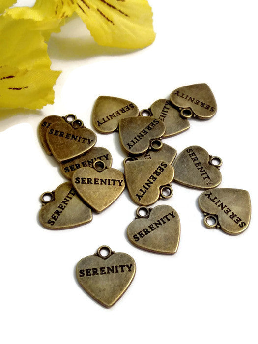 Bronze Serenity Heart Pendant Charms