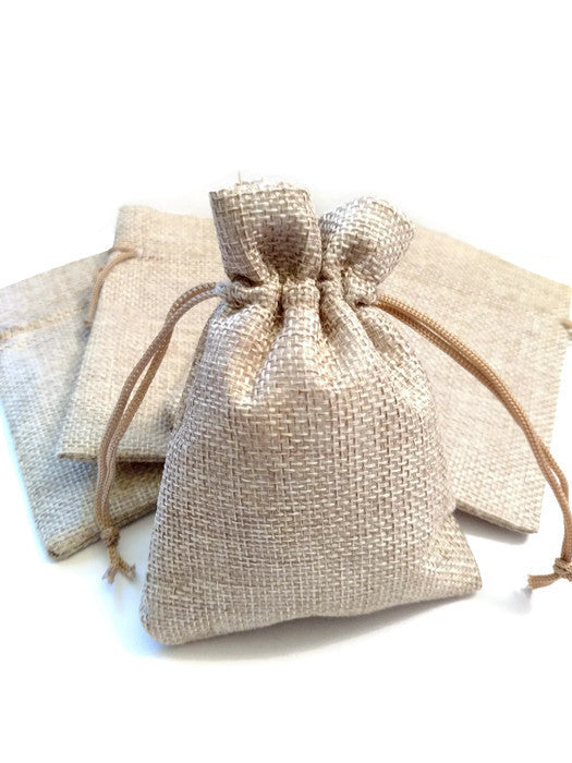 Burlap Jewelry Bag - 10 Pack