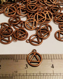 Copper AA Pendant Charms - Alcoholics Anonymous Cutout Style