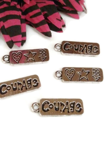 Courage Double Sided Pendant Charms - Inspirational Silver Tone 5 pcs