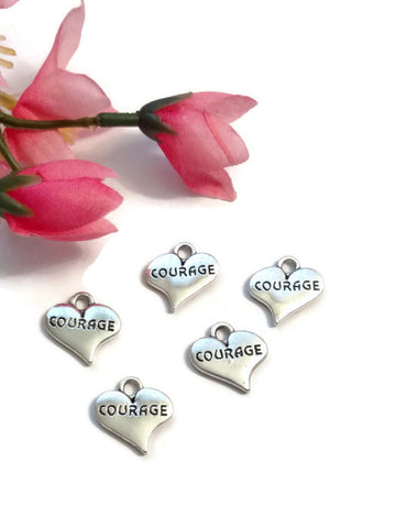 Courage Heart Pendant Charms - Inspirational Hope Awareness