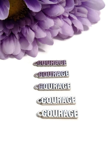 Courage Pendant Charms - Silver Tone