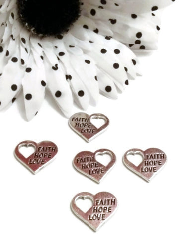 Faith Love Hope Charms With Heart Cut Out - 5pcs