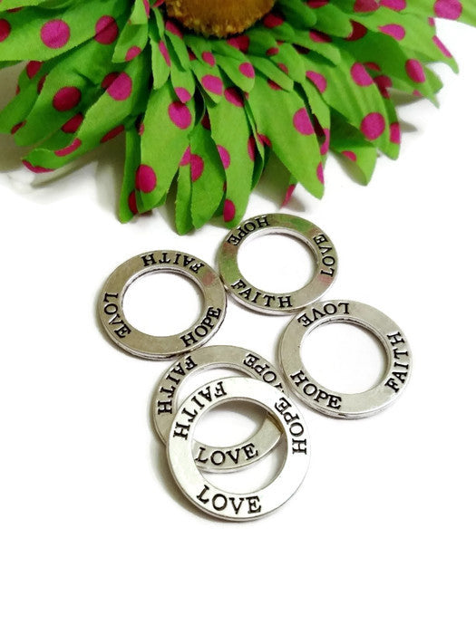 Faith Love Hope Affirmation Rings - Inspirational Charms