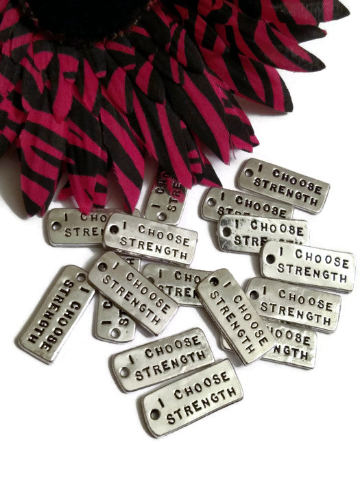 I Choose Strength Inspirational Pendant Charms - Silver