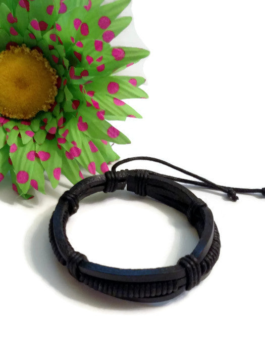 Leather DIY Bracelet Adjustable Blank - 5 Pk - Black