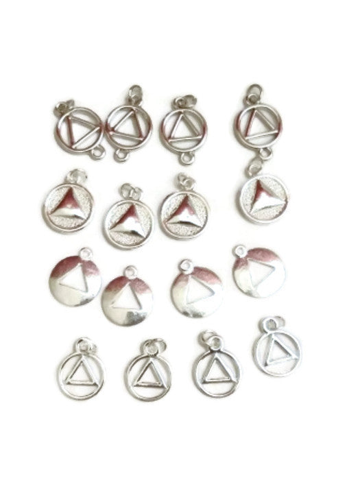 Sample Mix of AA Silver Tone Charms - Alcoholics Anonymous  16 Pcs