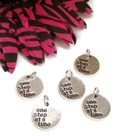 One Step At A Time 12 Step Recovery Pendant Charms - 5 Pc