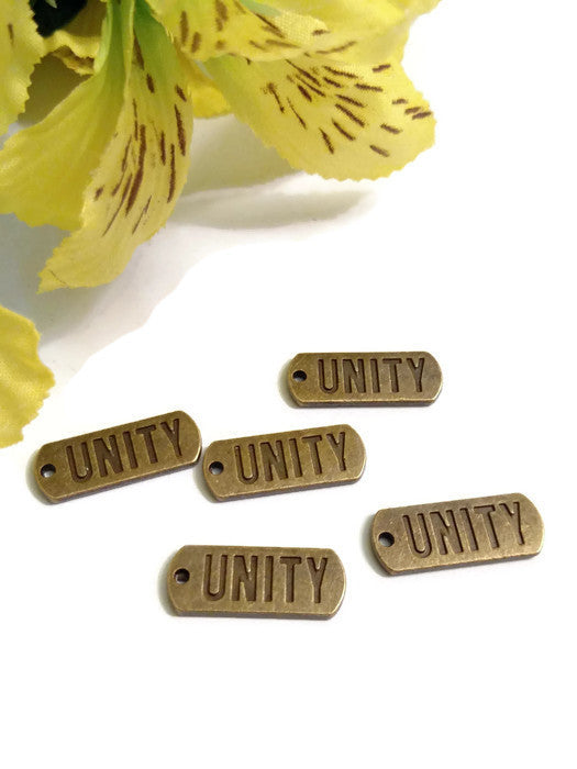 Unity Tag Pendant Charms - 12 Step Recovery Bronze 5 Pcs