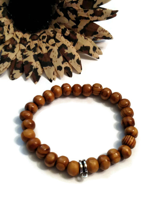 Wood Bead Stretch Bracelet With Hanger - 5 Pack