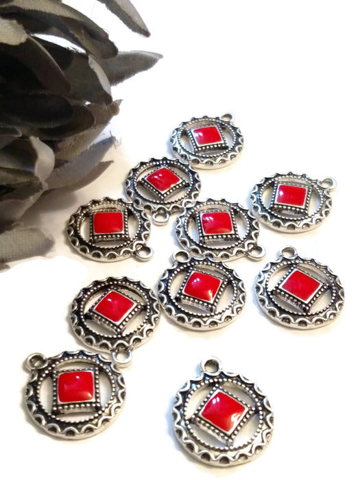 Red Enamel Antique Silver Pendant Charms - Narcotics Anonymous