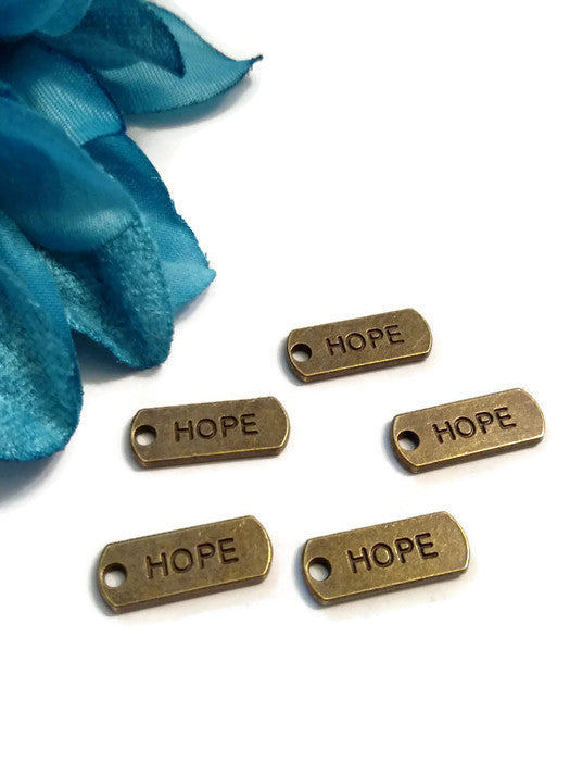 Bronze Hope Pendant Charms Tags