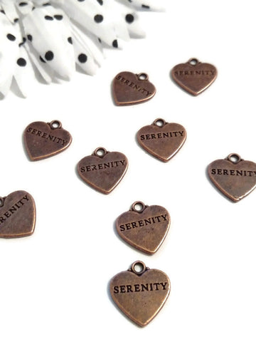 Copper Serenity Heart Pendant Charms