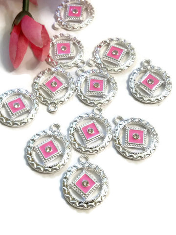 Hot Pink NA Enamel With Clear Crystal Pendant Charms Silver Tone - Narcotics Anonymous 12 Step Recovery