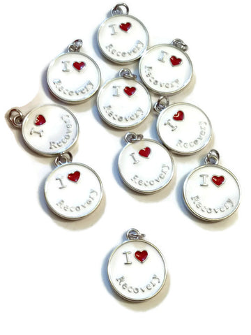 I Love Recovery Enamel Pendant Charms