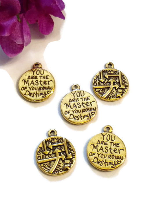 You Are The Master Of Your Own Destiny Pendant Charms - Gold Tone