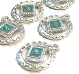 Light Blue Enamel & Crystal Pendant Charms Silver Tone - NA