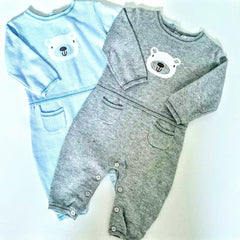 Blue and Grey Baby Bear Romper